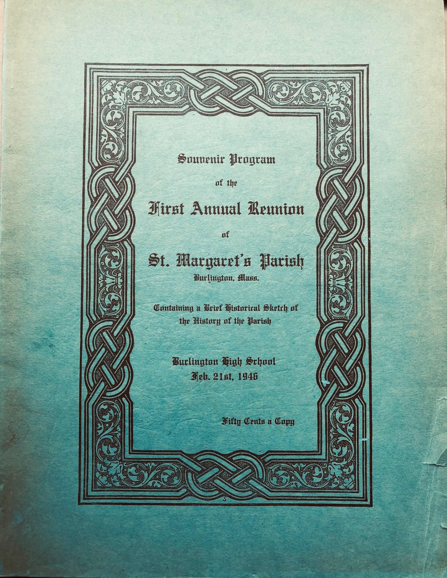 St. Margaret's Reunion book cover, Burlington MA