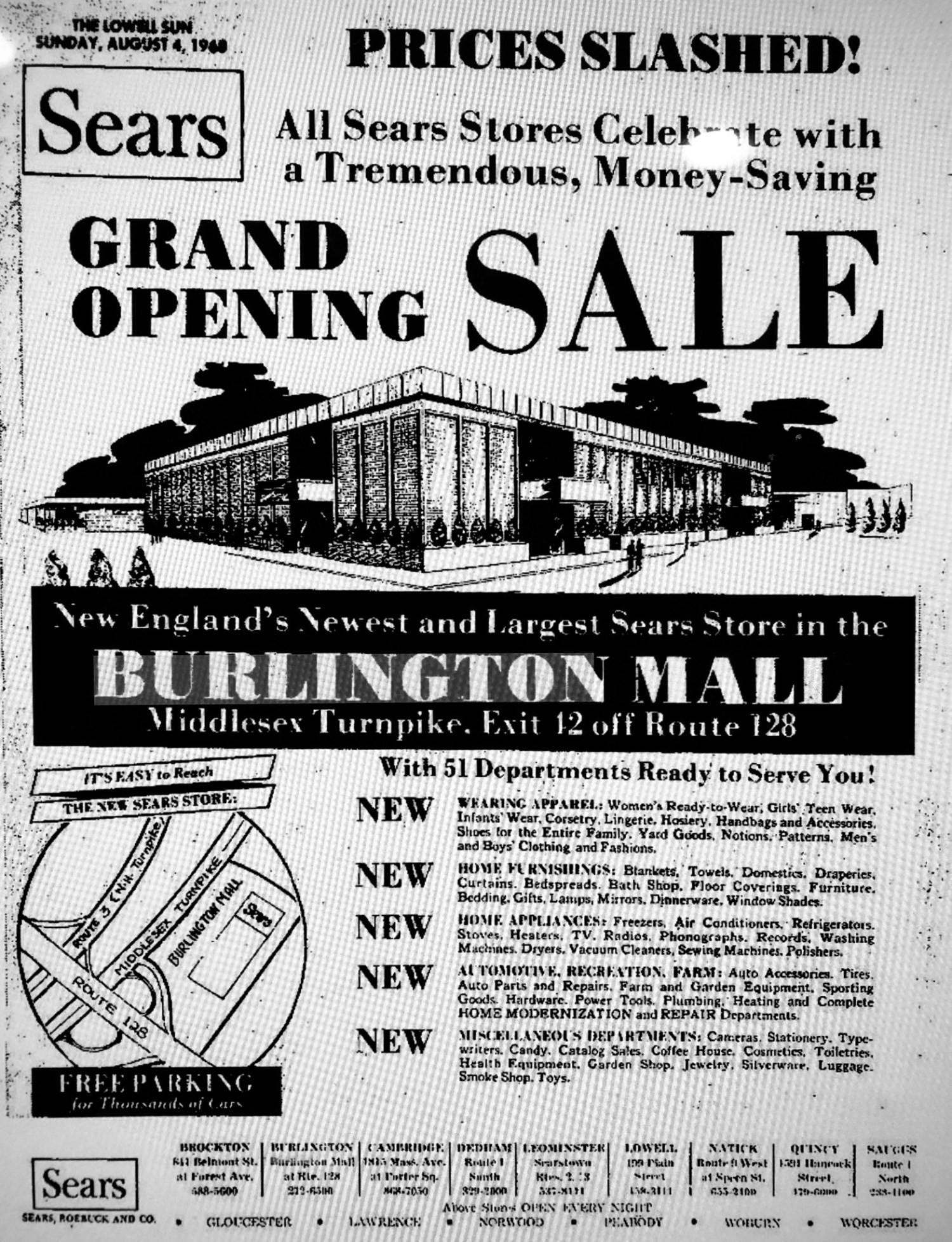 Sears grand opening ad, Burlington MA