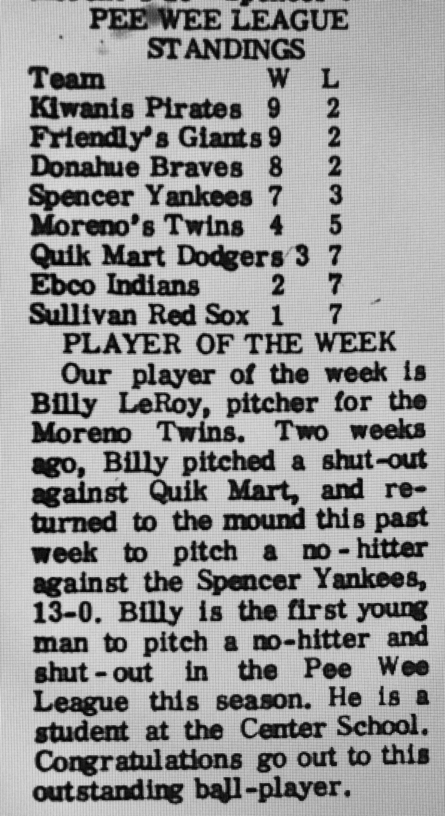 Sept. 1969 Pee Wee standings, Burlington MA
