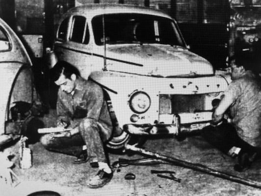 Tom Flanagan (left) and firefighter George Clark, Burlington MA
