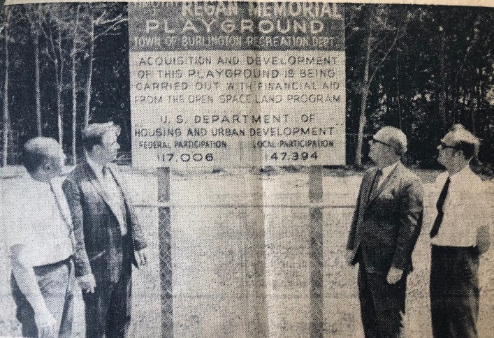 Regan Playground sign, Burlington MA