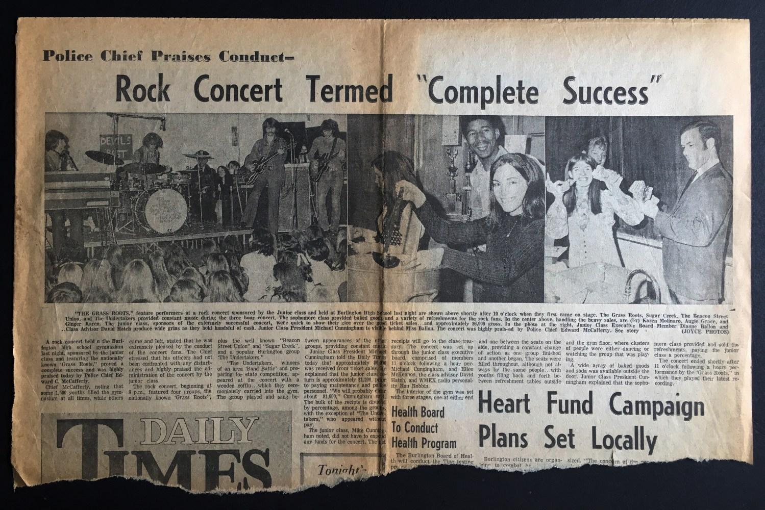 """""""Complete Success""""! Grass Roots concert, 1970 Burlington MA"""