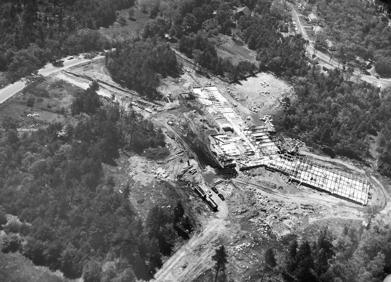 Wildwood School construction closeup, Burlington MA