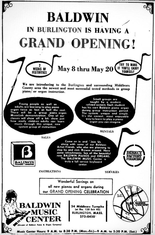 Baldwin Music Center grand opening, Burlington MA