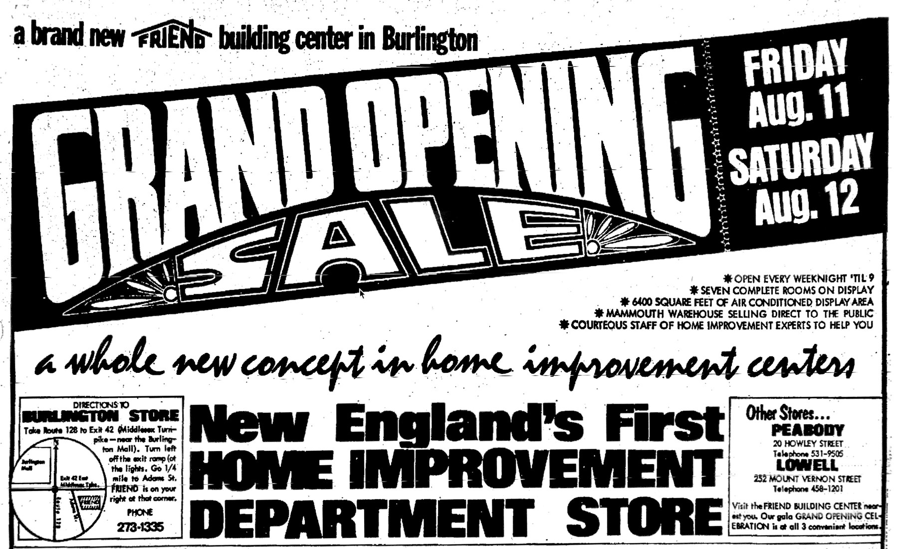 Friend Lumber grand opening 1972, Burlington MA