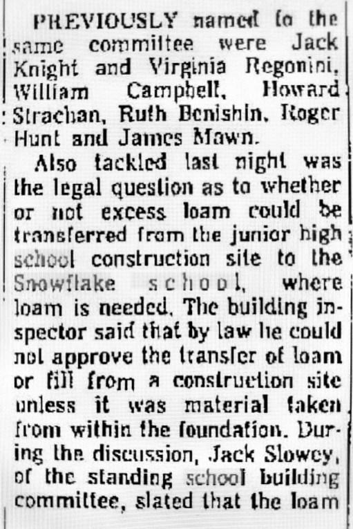 Snowflake School mention 1965