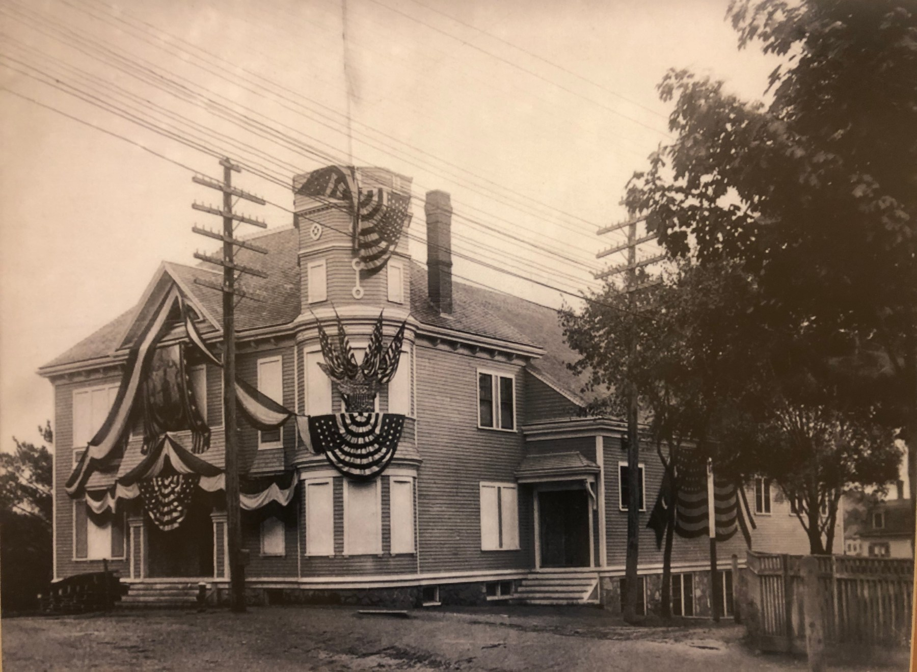 Old Woburn Armory, decorated for 250th anniversary, Montvale and Prospect Streets, 1892
