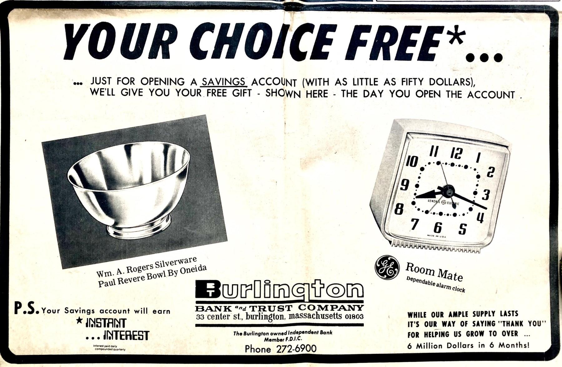 Burlington Bank and Trust 1969
