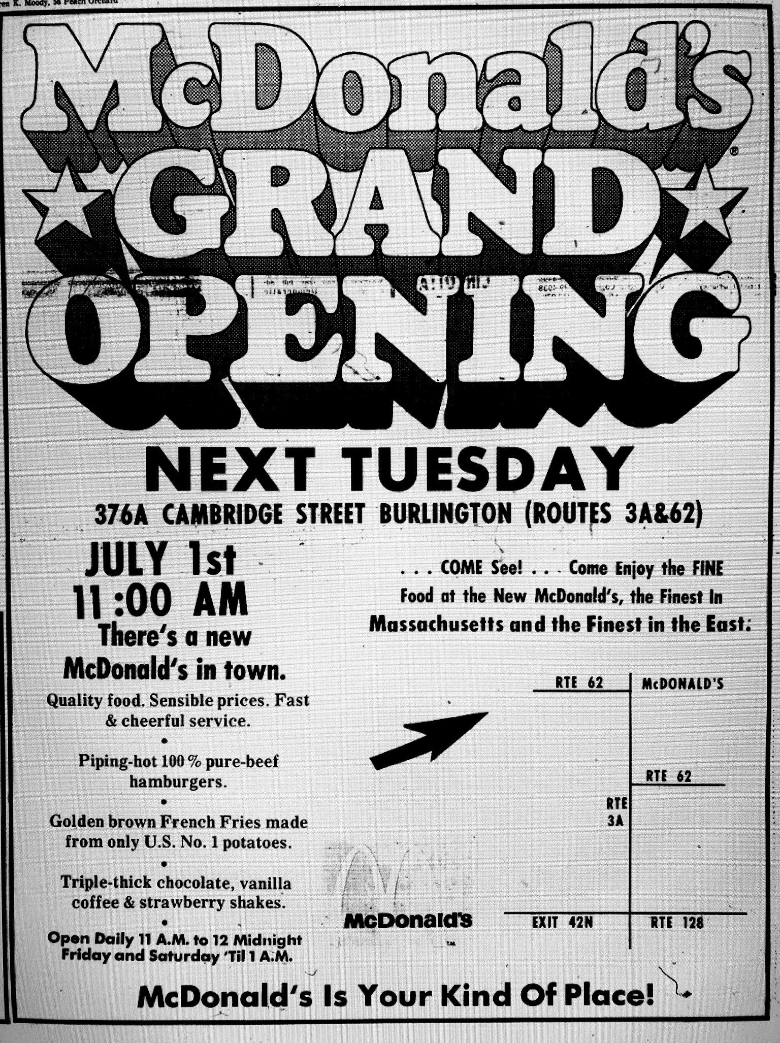 McDonald's grand opening 376A Cambridge St. Burlington MA
