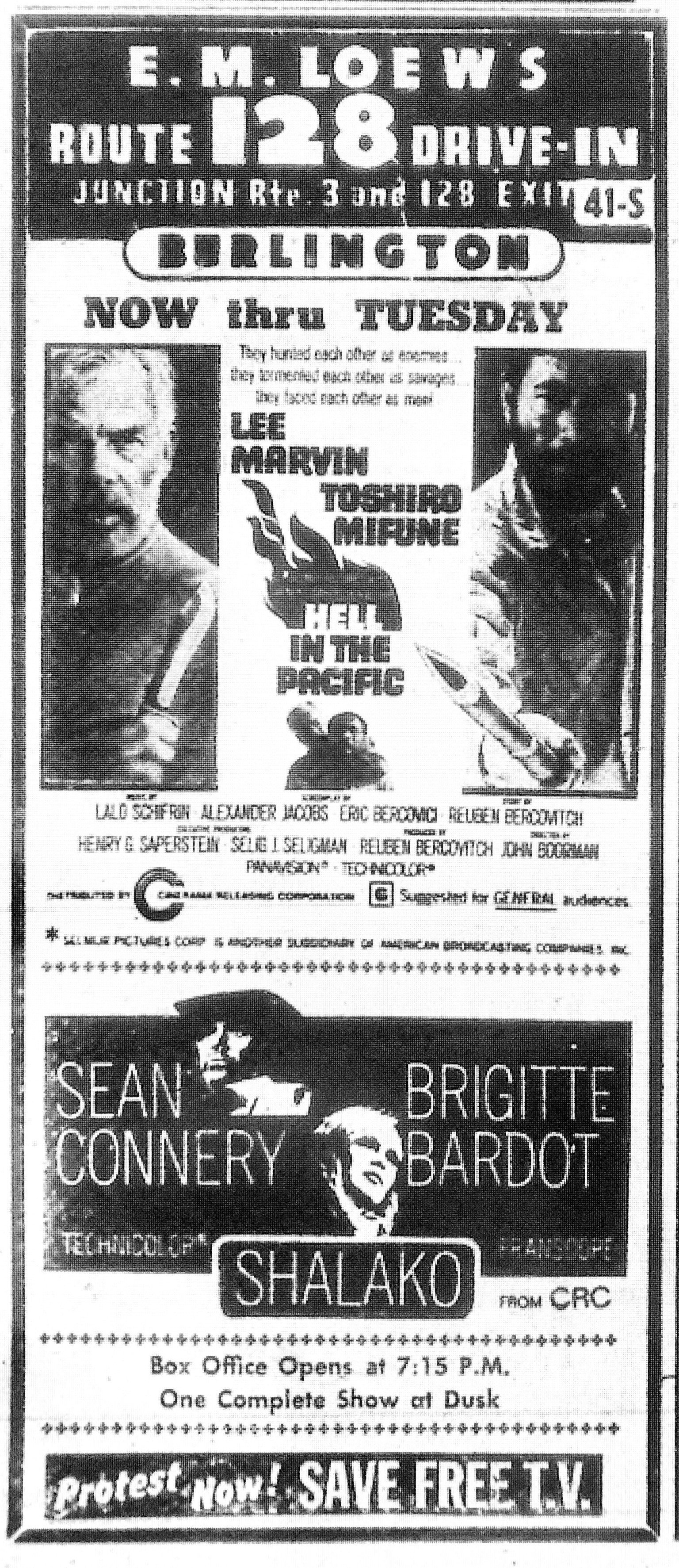 128 Drive In ad, Hell in the Pacific