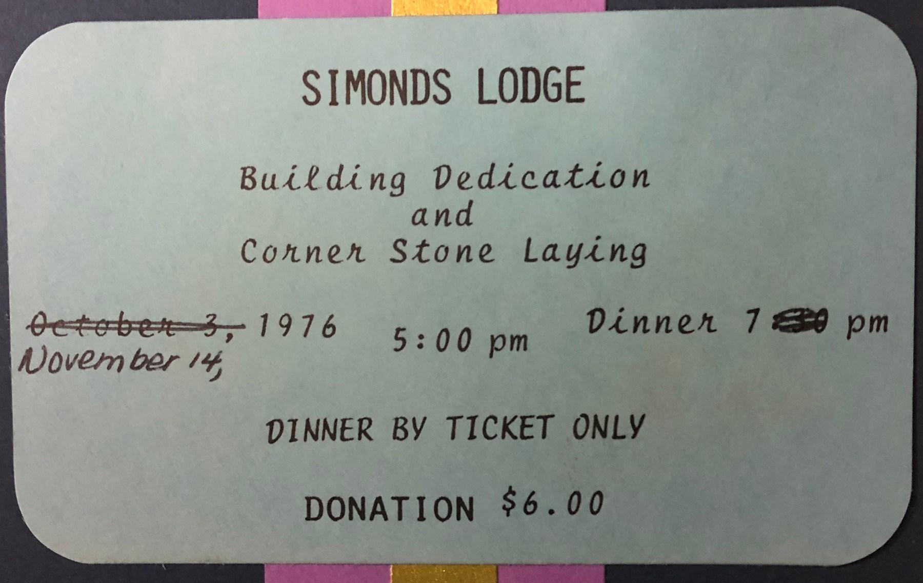 Simonds Lodge corner laying 1976, Burlington MA