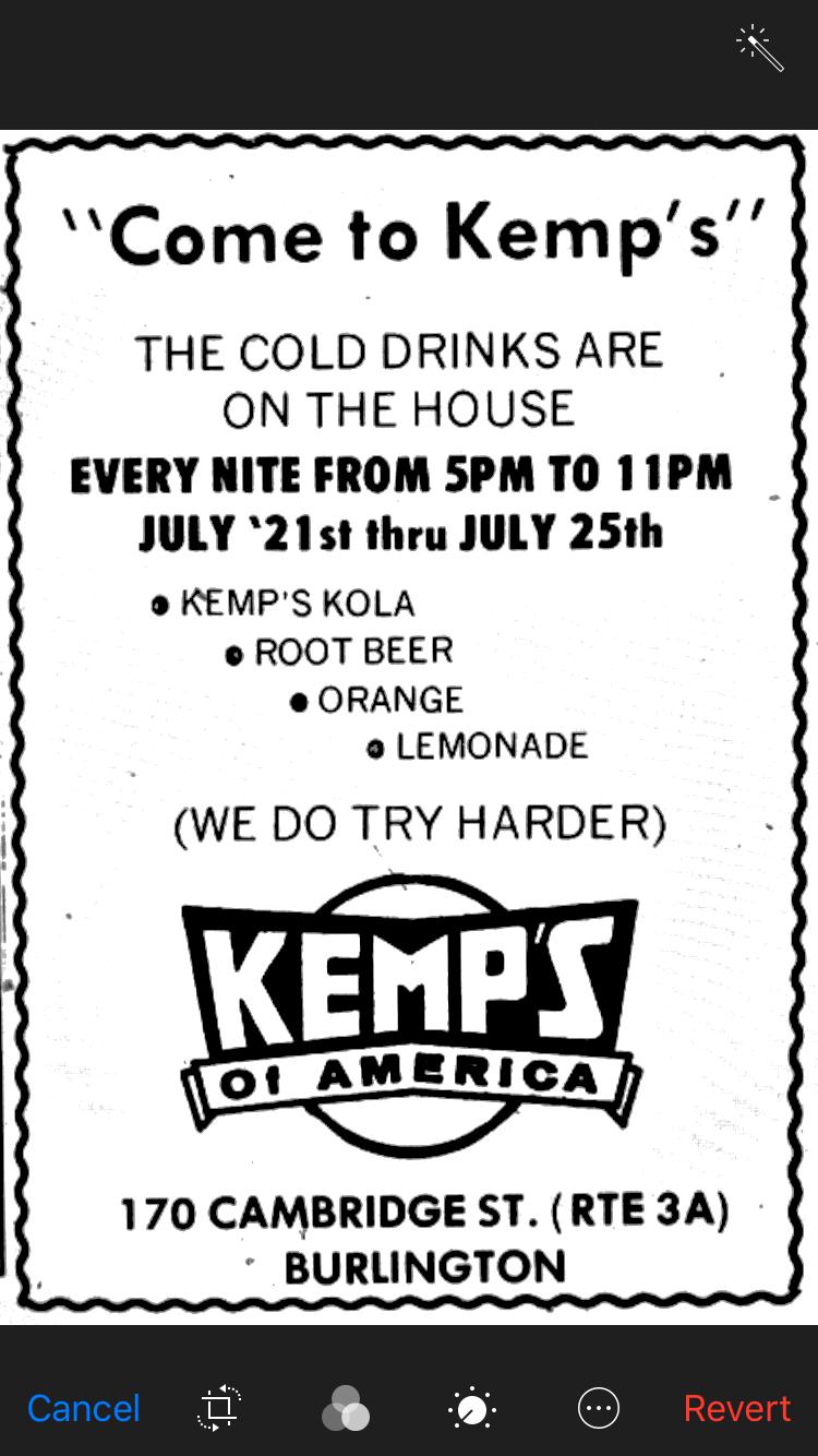 """Kemp's """"Come to Kemp's"""" ad Burlington MA"""