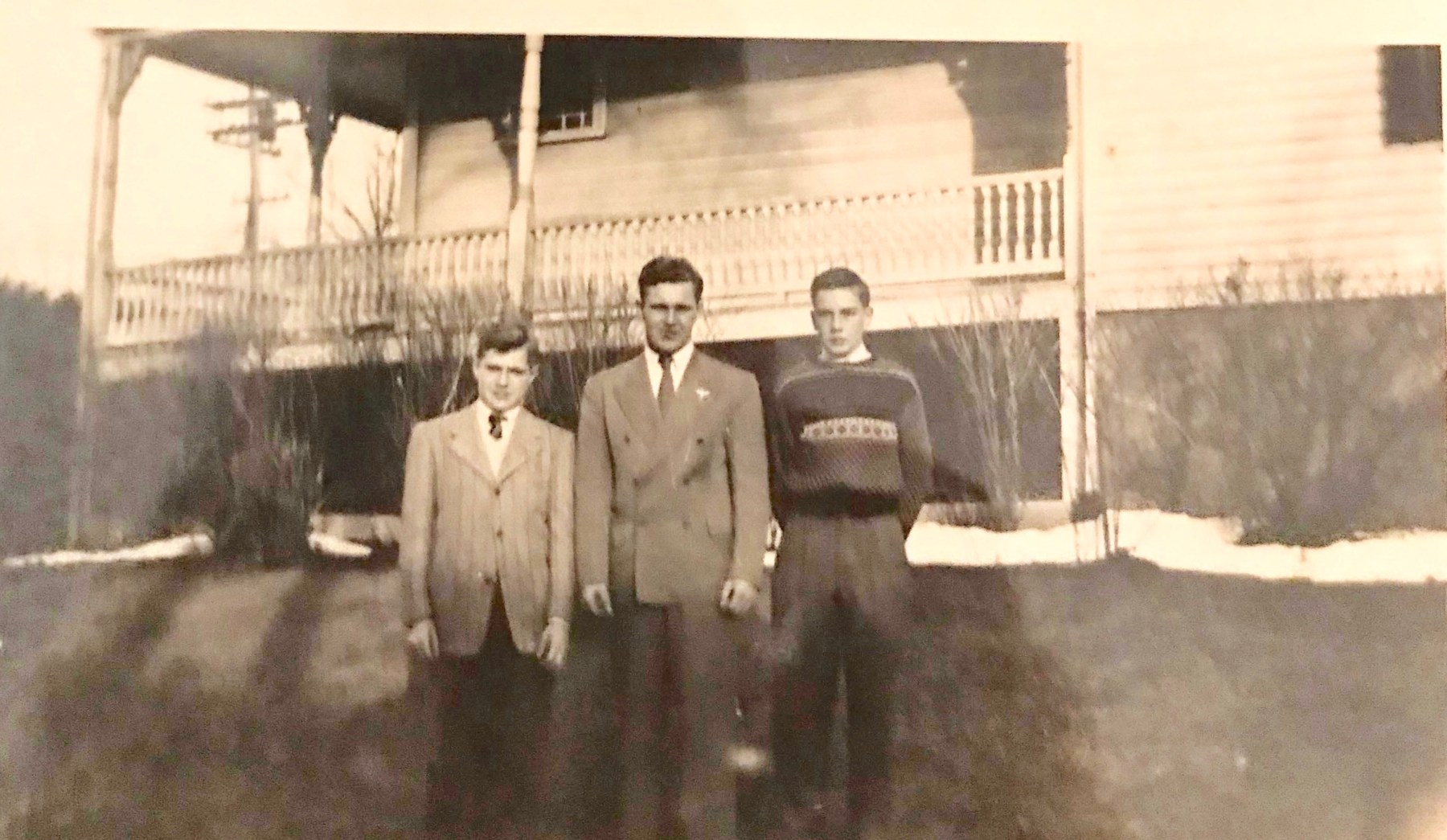 Billie and Jimmy Ray (left and center) and mystery man. Burlington MA