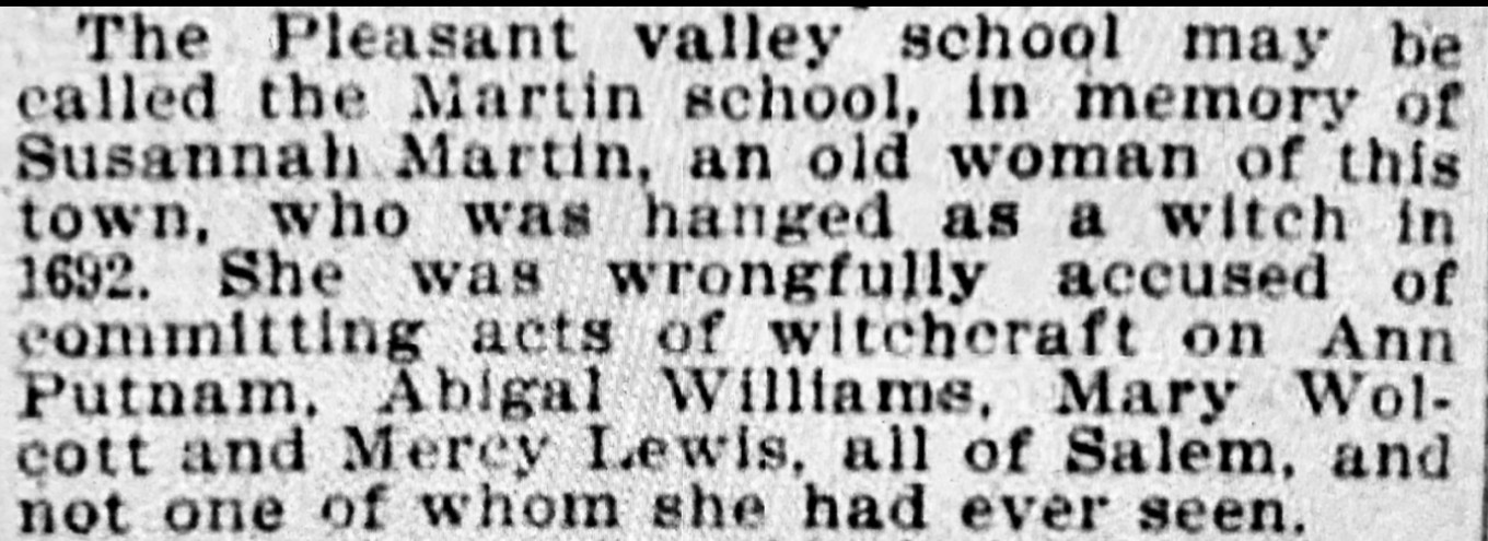 Susannah Martin school proposal Boston Sunday Globe Dec. 15, 1895