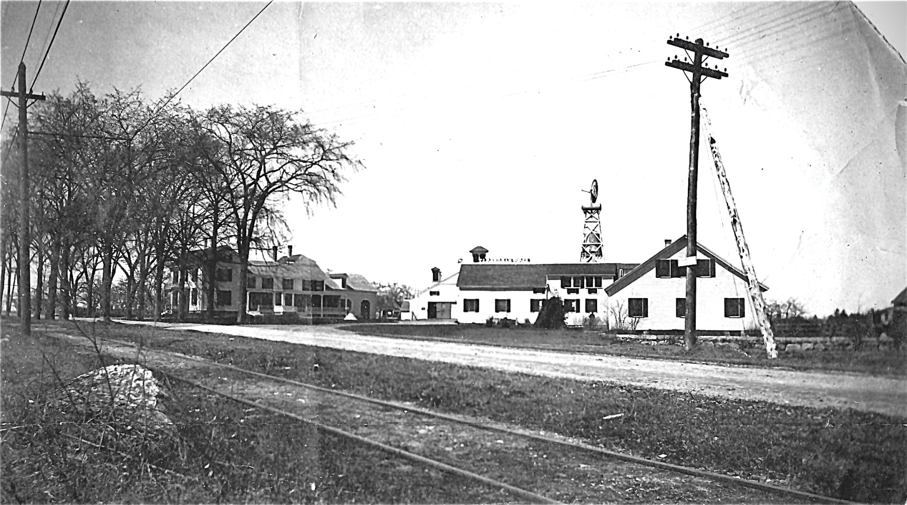 Reed Ham Works with trolley tracks, Burlington MA. Photo credit: Burlington Archives