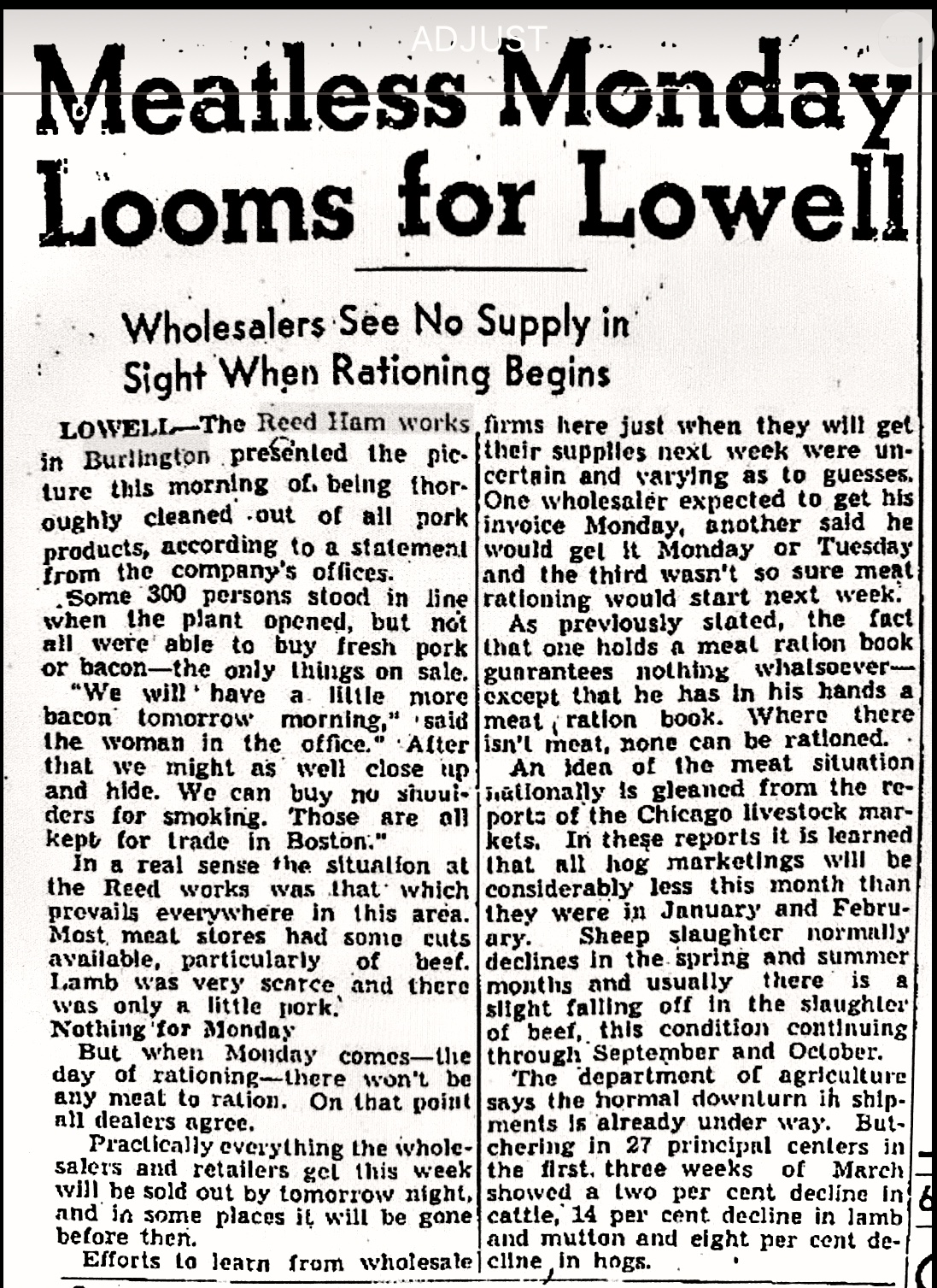 Meatless Monday article, Lowell Sun 1943