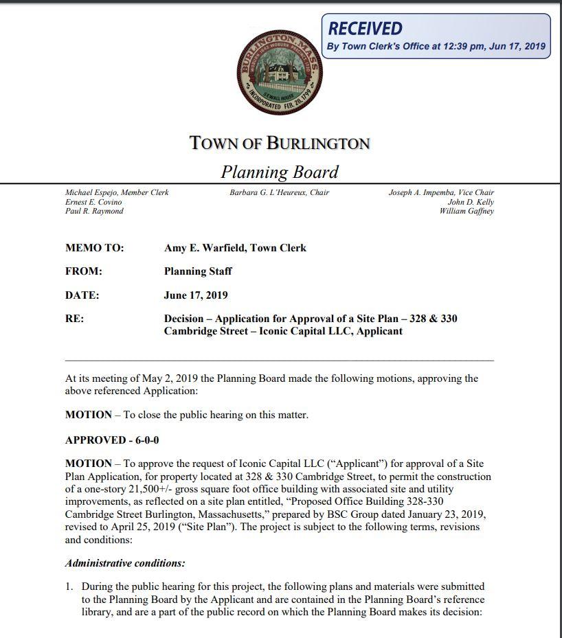 Reed Ham Works site plan approval, Burlington MA