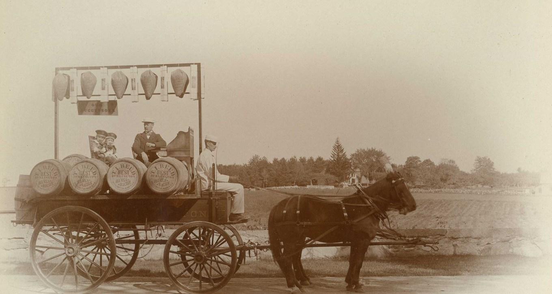 Reed Ham Works wagon with barrels, Burlington MA. Photo credit: Burlington Arhives
