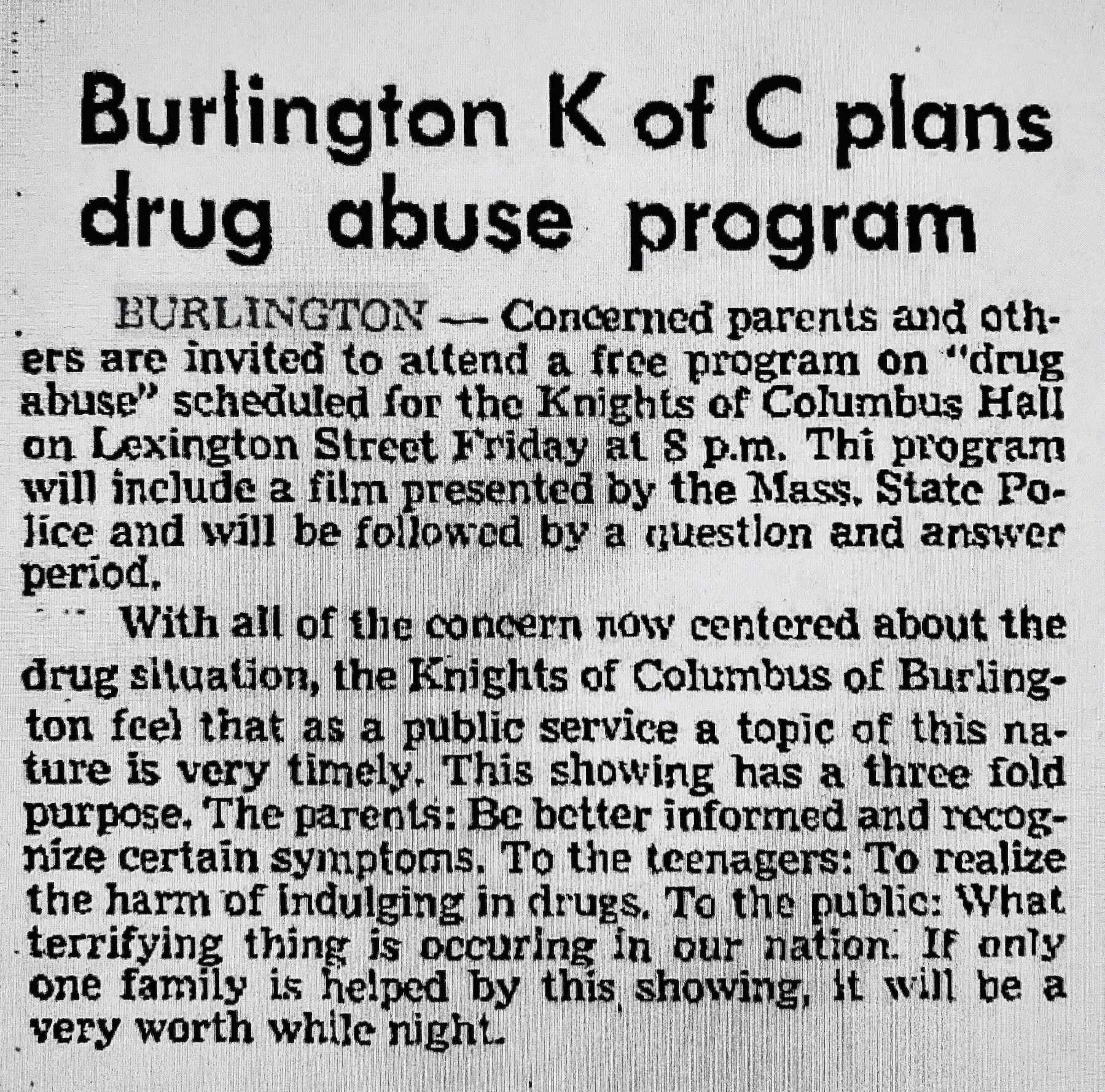 Burlington Knights of Columbus drug ad Burlington MA
