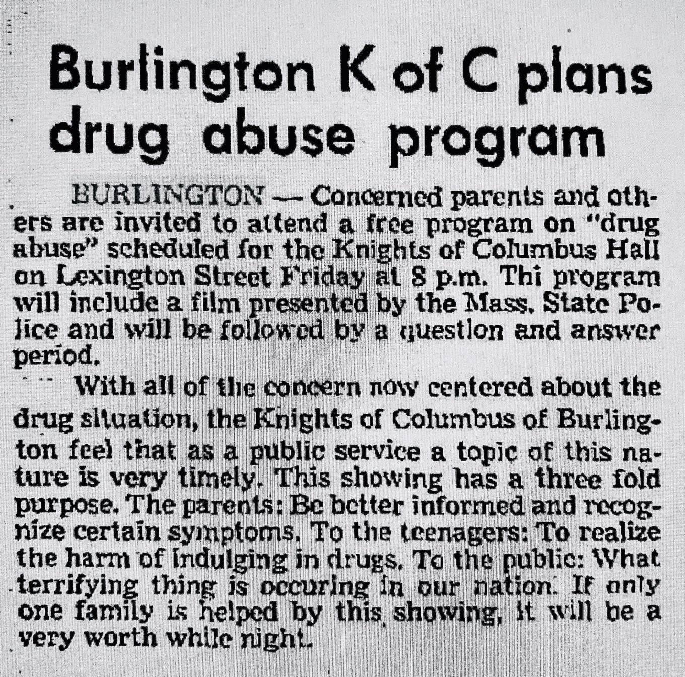 Burlington Knights of Columbus drug ad Burlington MA