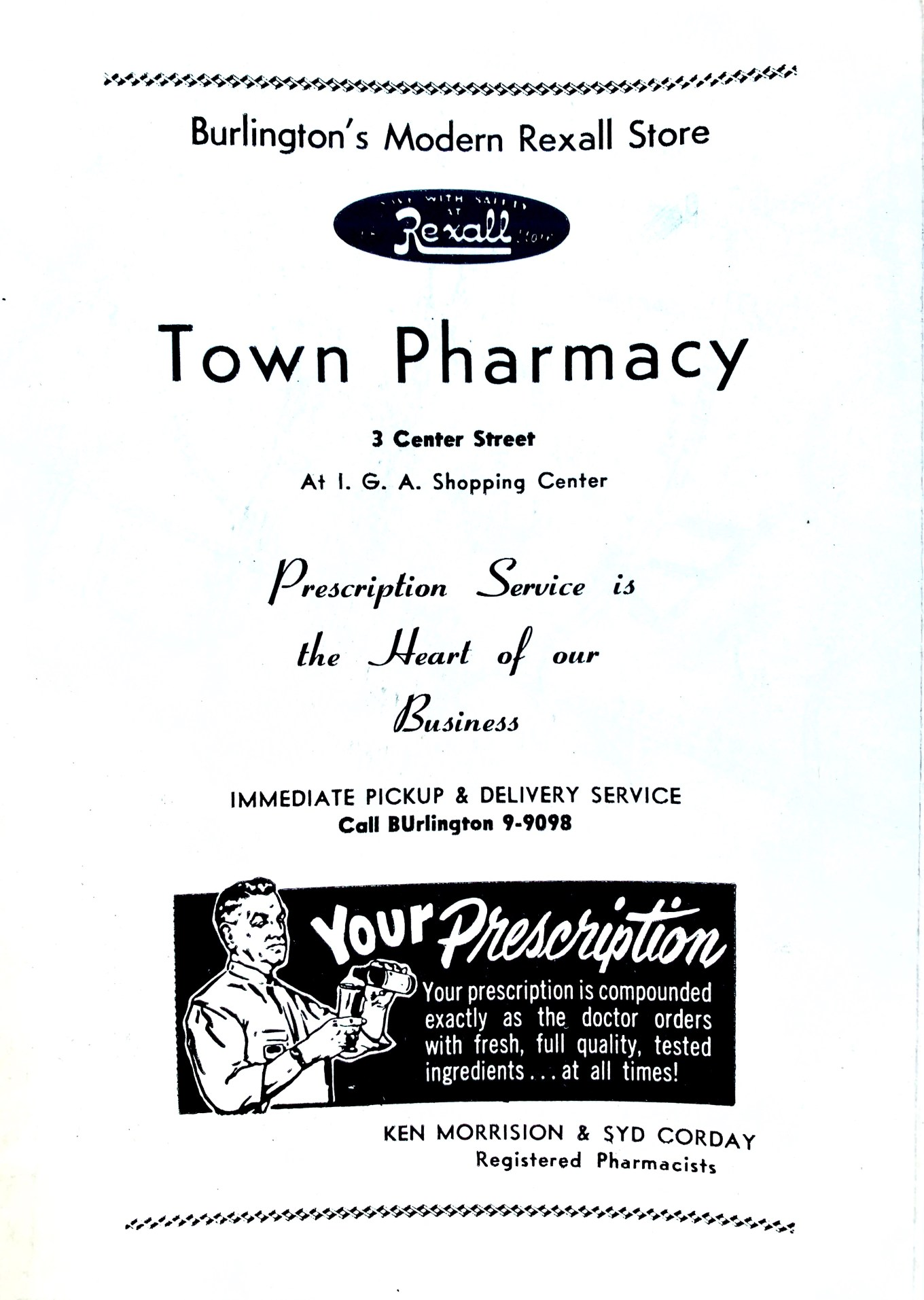 Town Pharmacy/Rexall ad 1956 Burlington MA