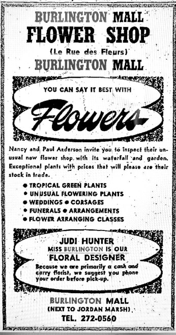Burlington Mall Flower Shop ad