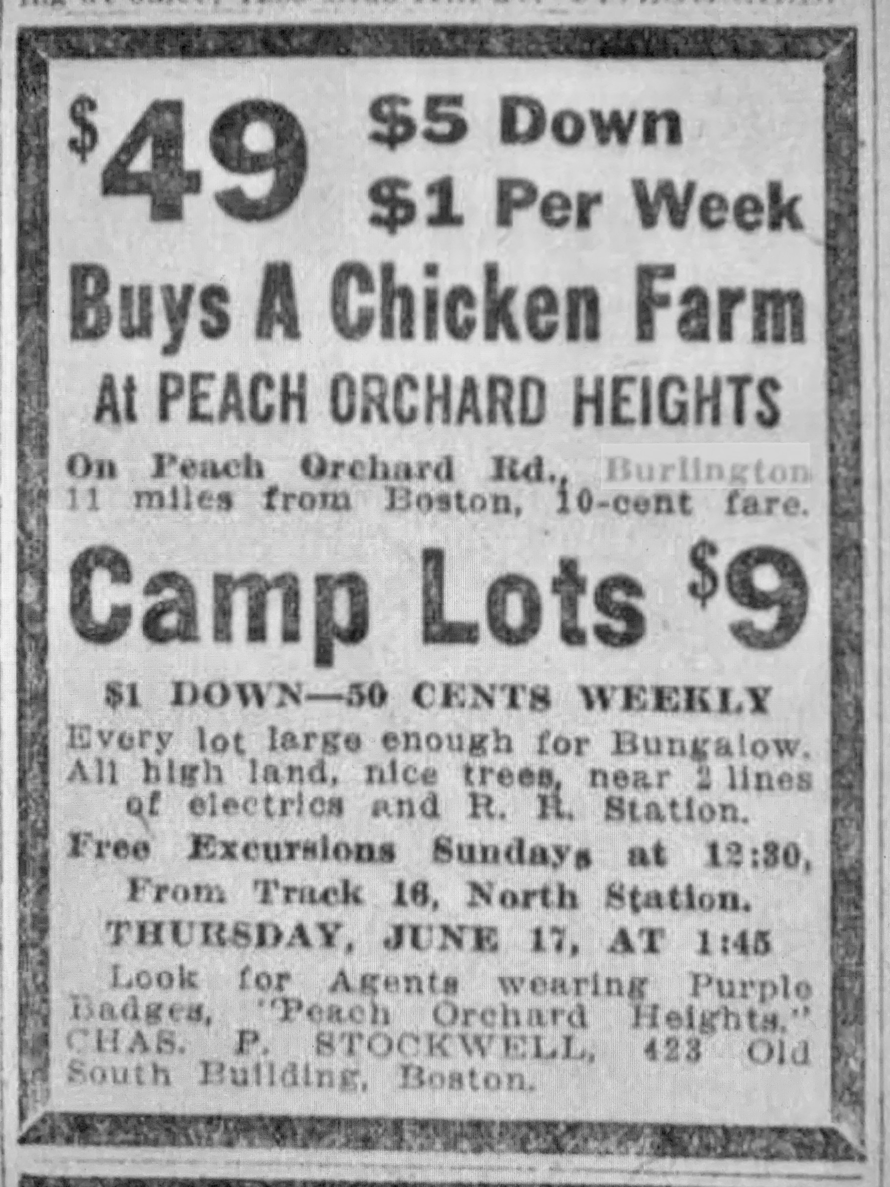 Peach Orchard Heights ad 1916 Burlington MA