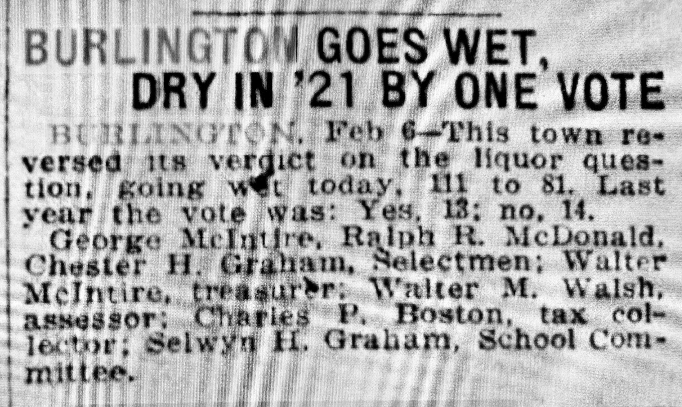 1922 Burlington goes wet