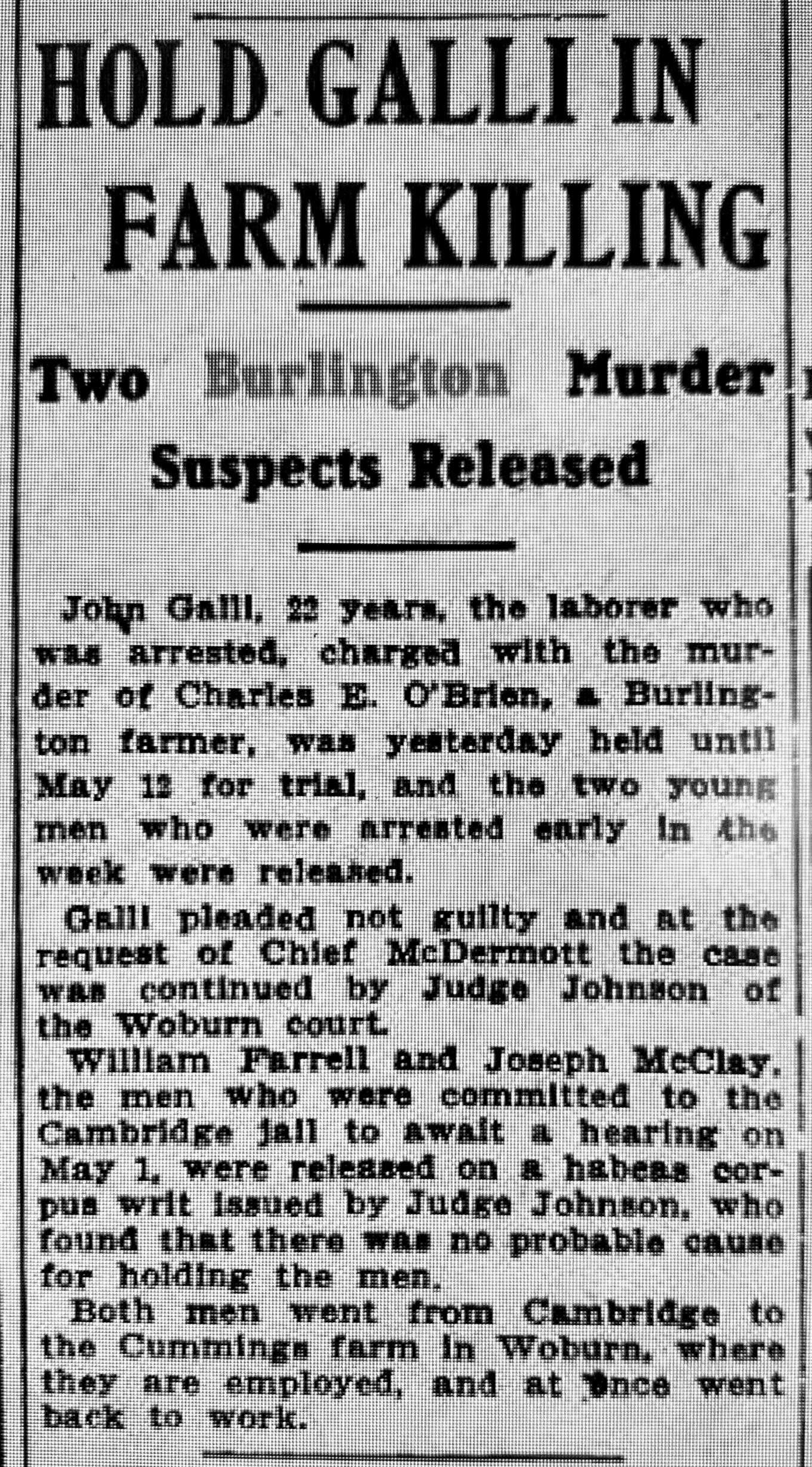 Farm killing 1913 Burlington MA