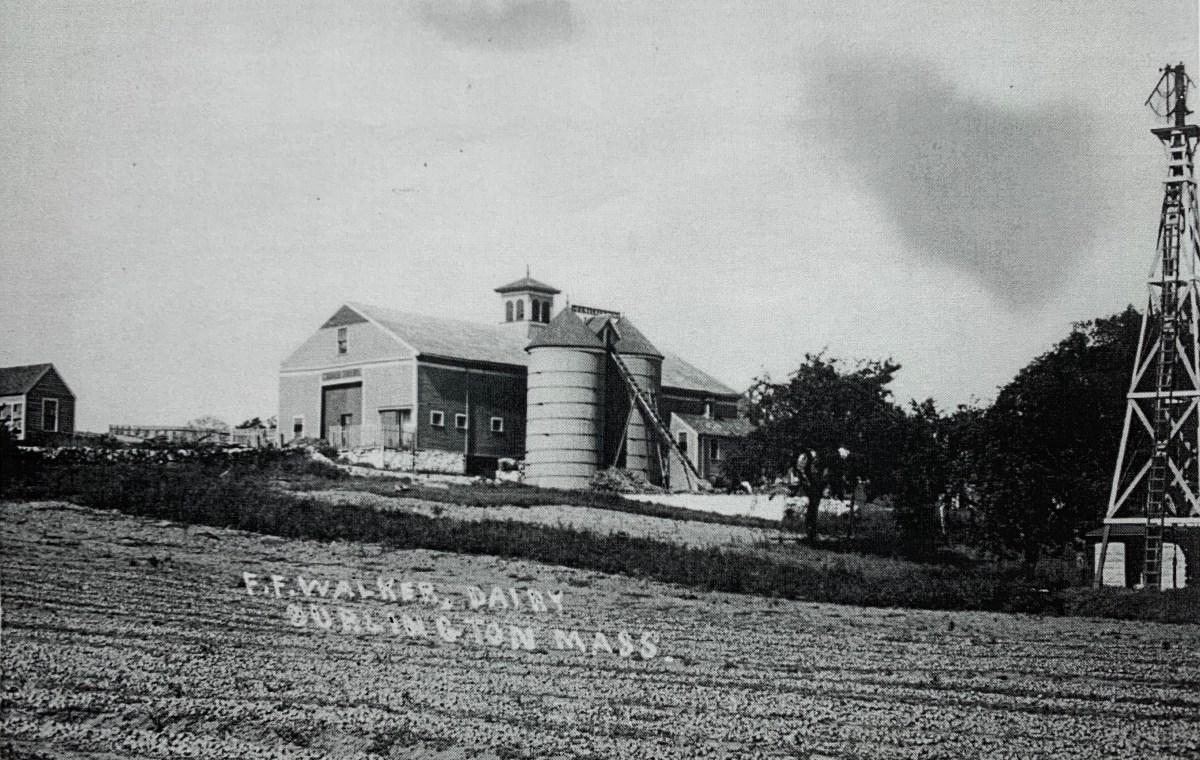 Fred Freeland Walker farm and barn, c. 1910, Burlington MA