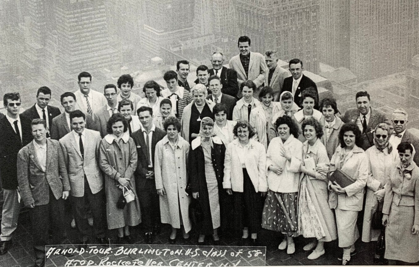 Burlington High School class of 1958 atop Rockefeller Center, NYC