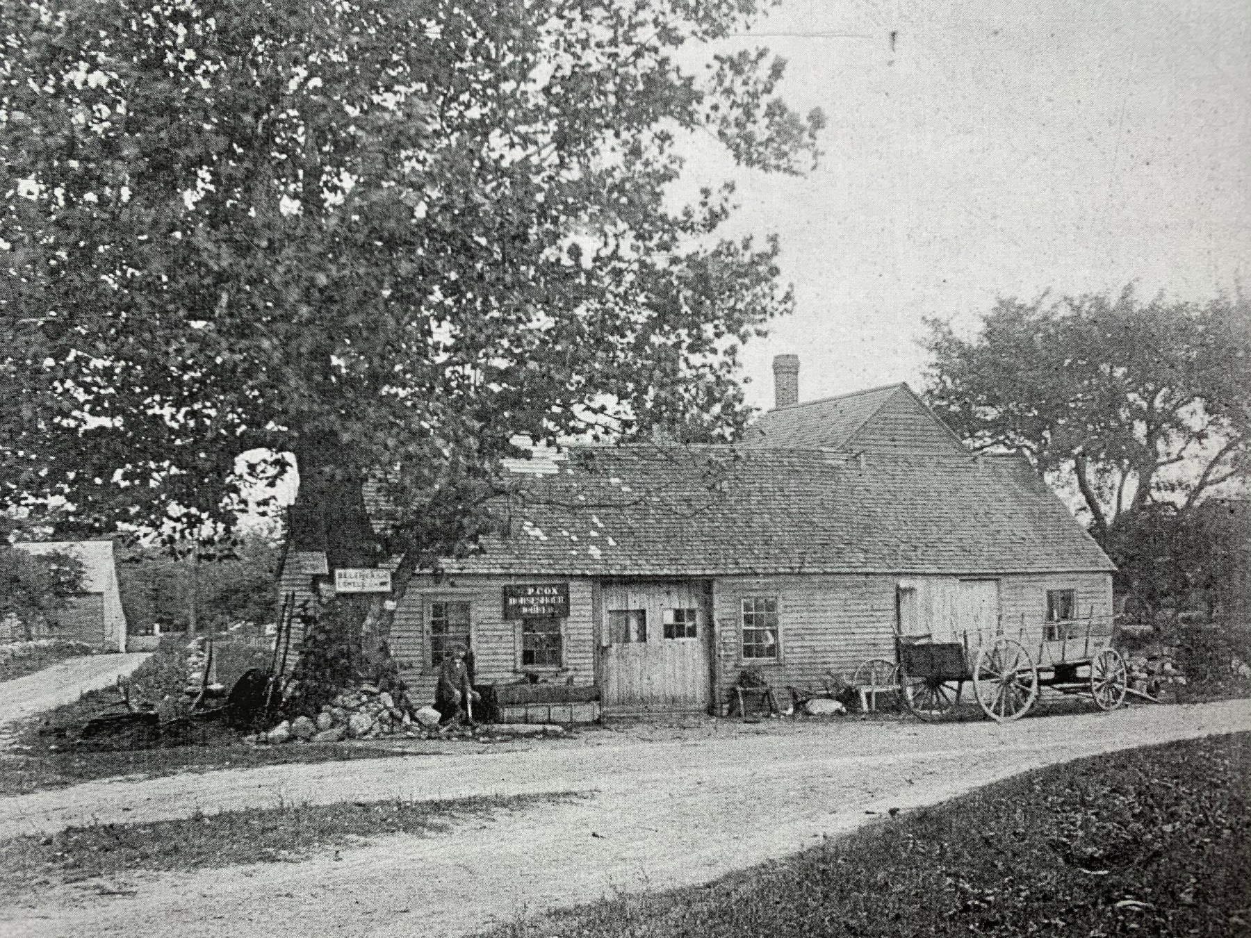 Richard J. Alley's blacksmith shop, 1890s, Burlington MA. Photo credit: town archives