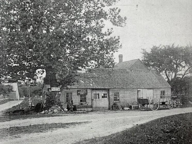 Richard J. Alley's blacksmith shop, 1890s, Burlington MA. Photo credit: town archives