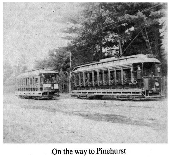 Electric trolleys heading to Pinehurst, Billerica c 1900