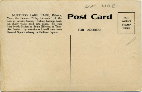 Nuttings Lake Bungalow postcard 2