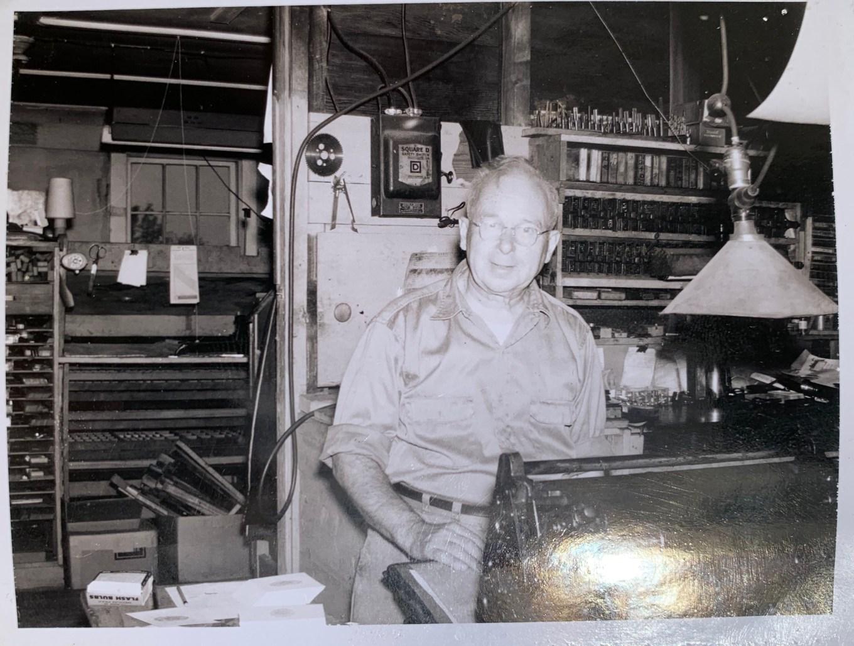 J Ellery French in his printing shop on Ellery Lane
