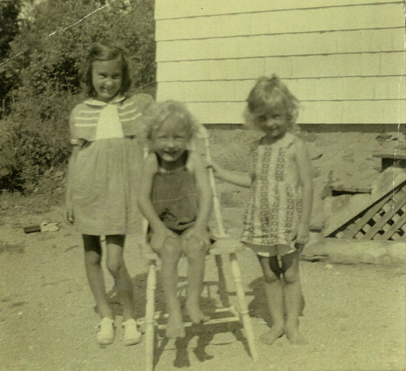 Carlene, Carl and Jo Johnson at Grandma's house in Overlook Ave. Burlington, MA, c. 1942