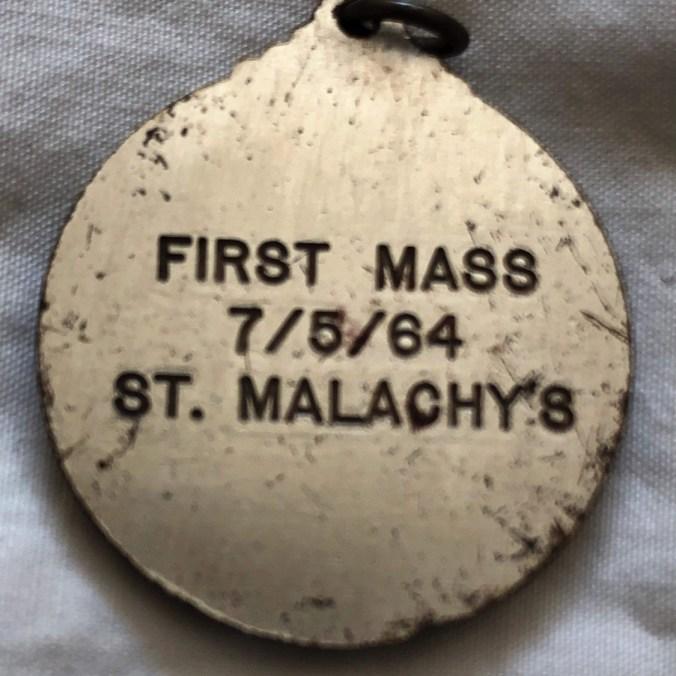First mass pendant from St. Malachy's, Burlington MA