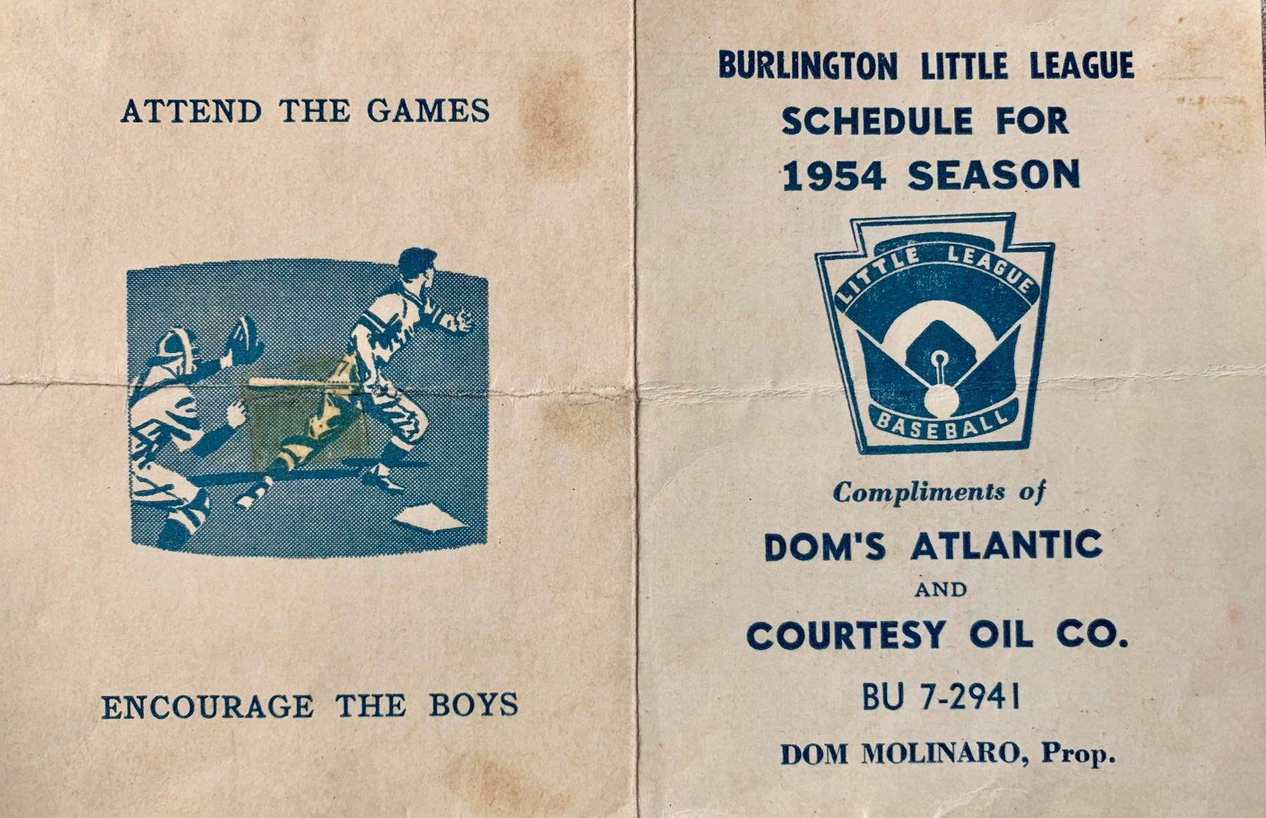 1954 Little League schedule Dom's Atlantic, Burlington MA