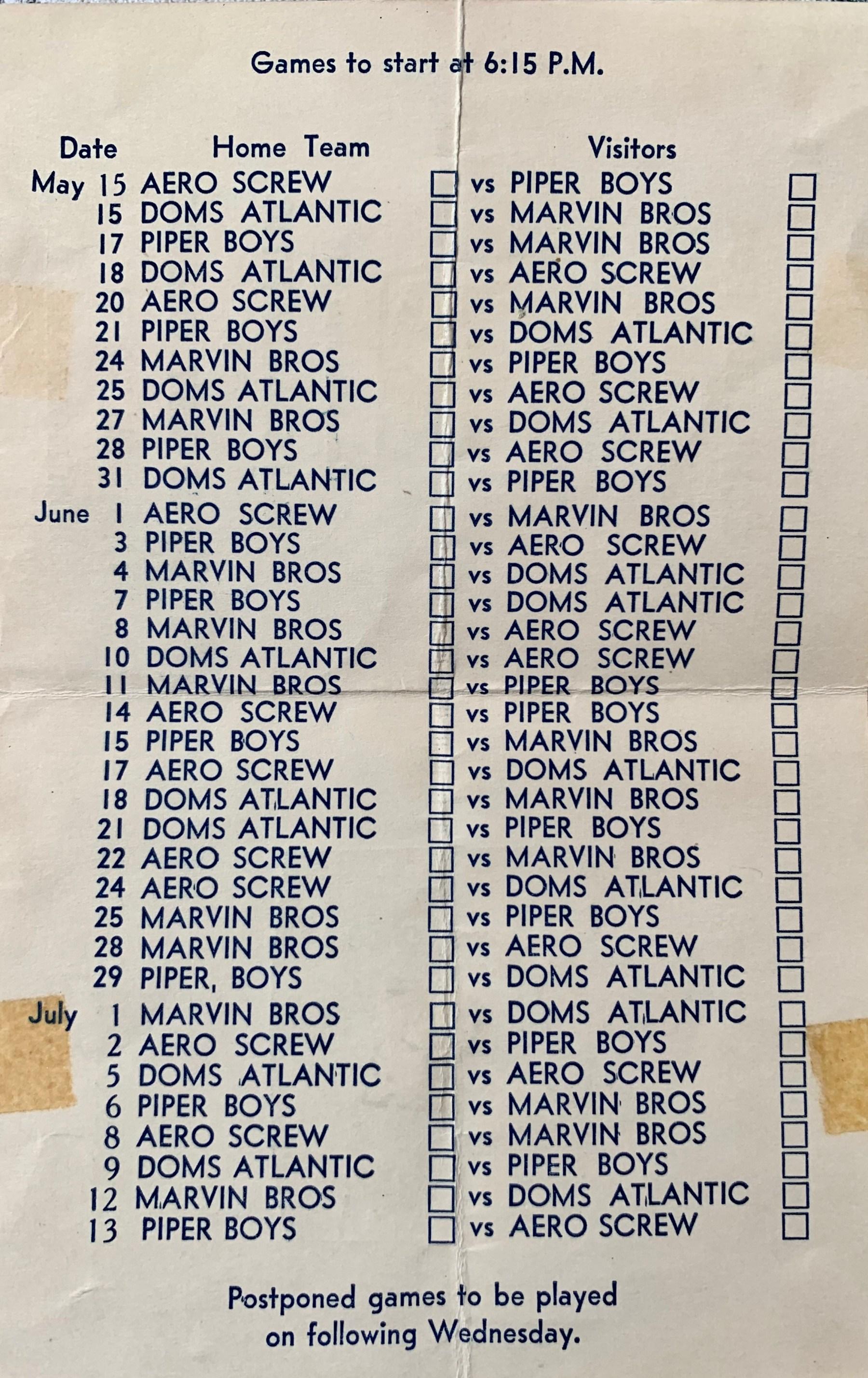 1954 Little League schedule Dom's Atlantic rundown Burlington MA