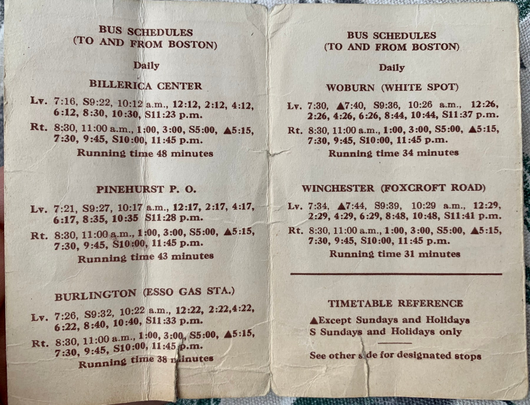 1952 bus schedule Boston to Lowell