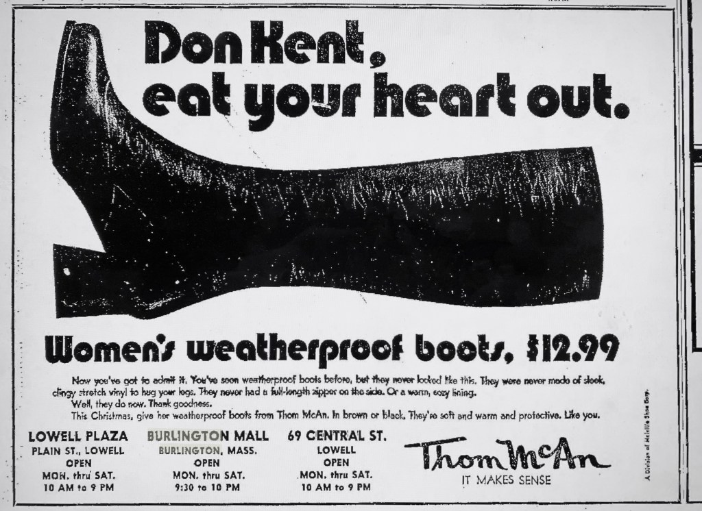 Don Kent Thom McAn ad Burlington MA 1970