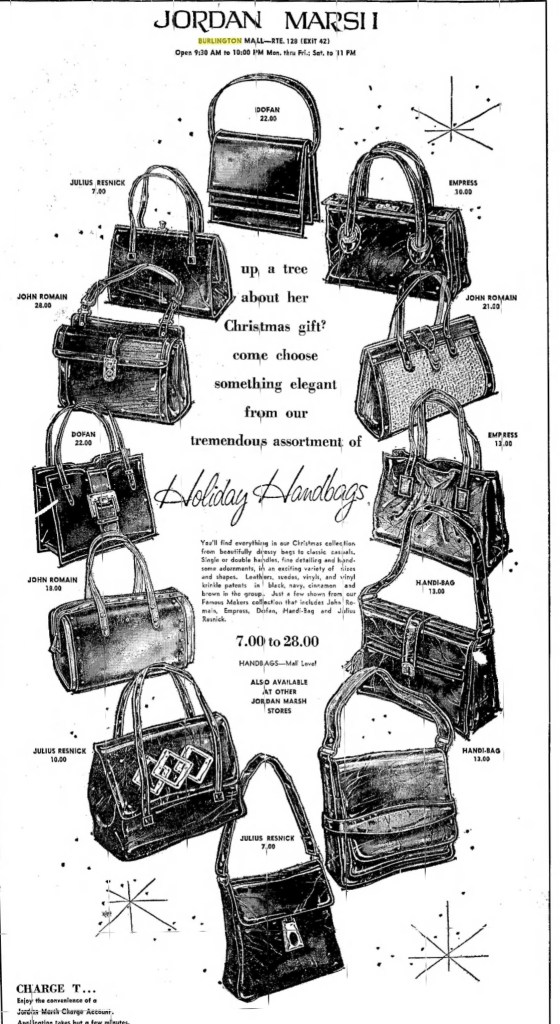 Jordan Marsh bags, 1970 Burlington Mall, Burlington MA