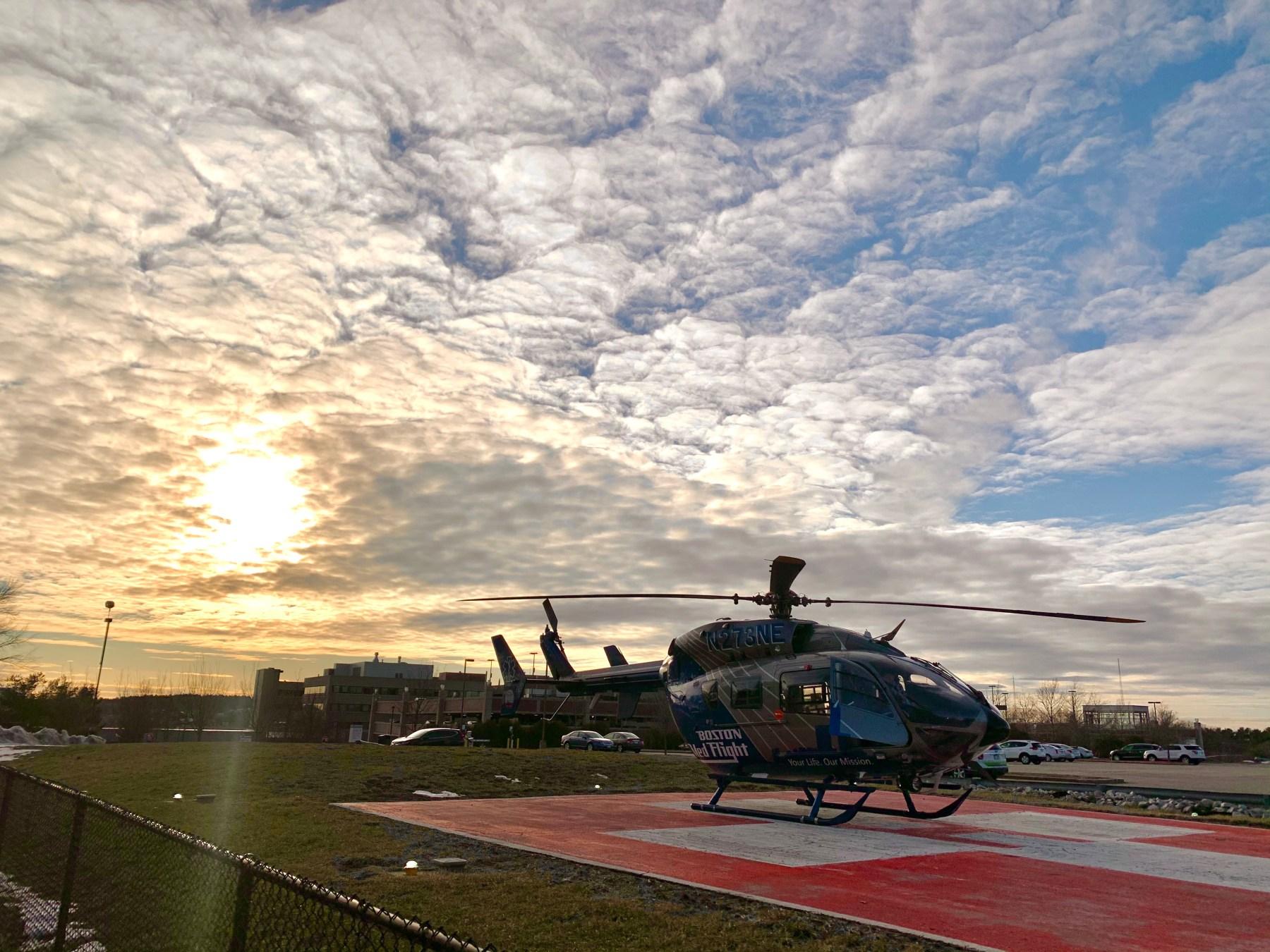 Boston MedFlight helicopter at Lahey, Burlington MA