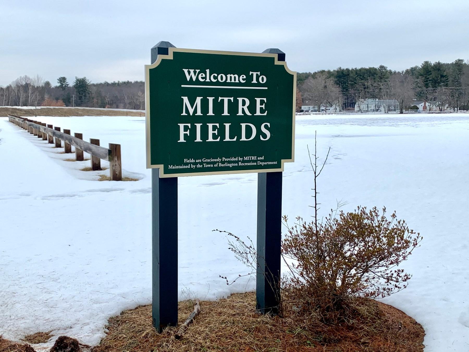 Mitre Fields sign, Burlington MA