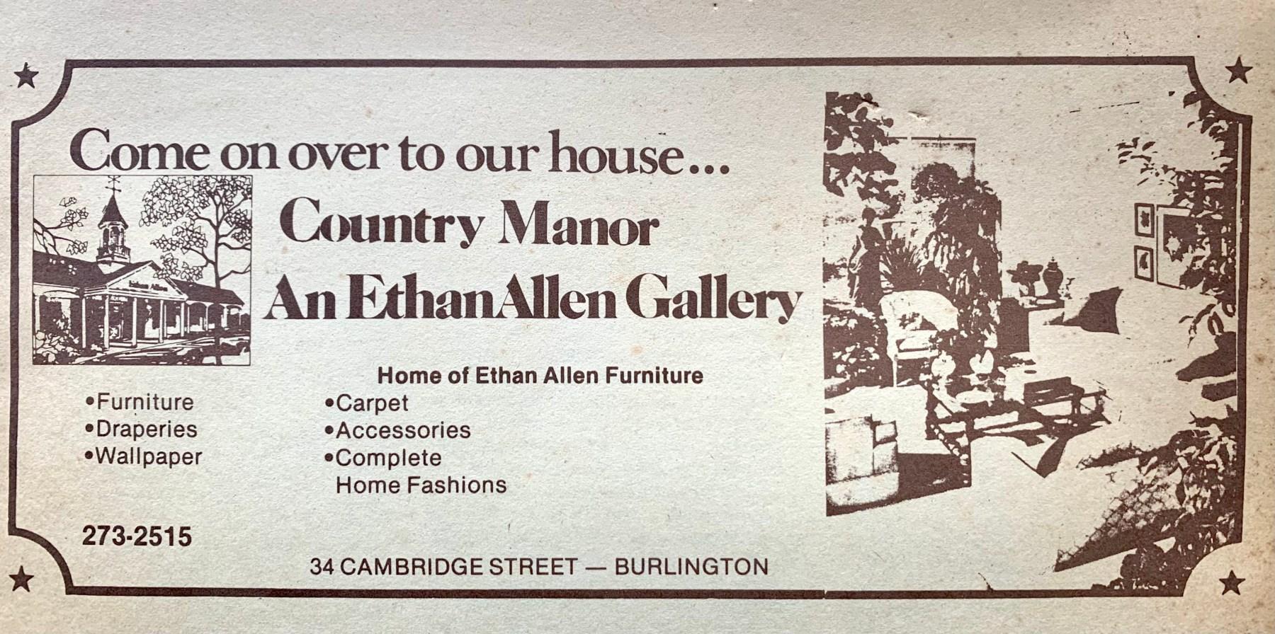 Ethan Allen Country Manor ad, 34 Cambridge Street, Burlington MA