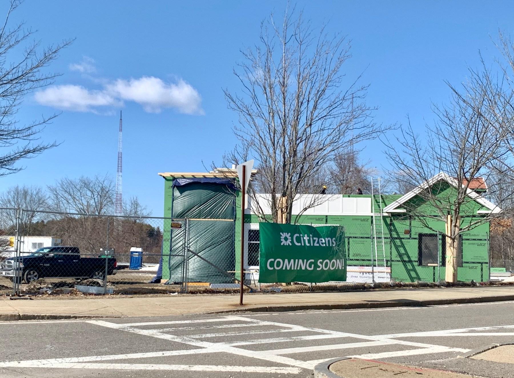 Citizens Bank under construction, Burlington Mall Road 2021