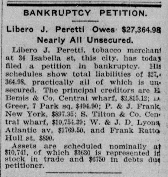 Peretti bankruptcy