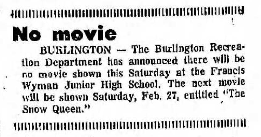 No movie FW Junior High Burlington MA