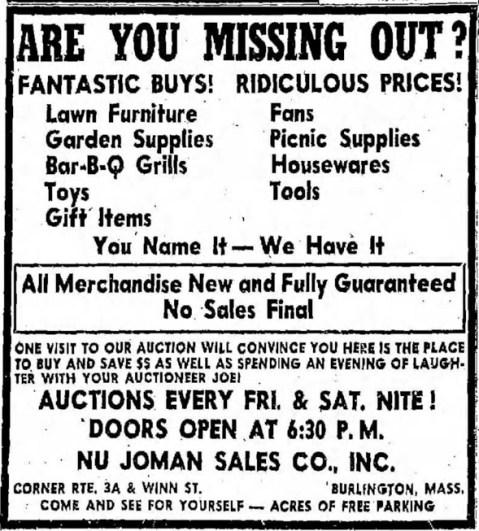Nu-Joman auction ad, Burlington, MA
